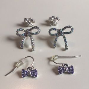 Three Bow Earrings Bundle Claire's